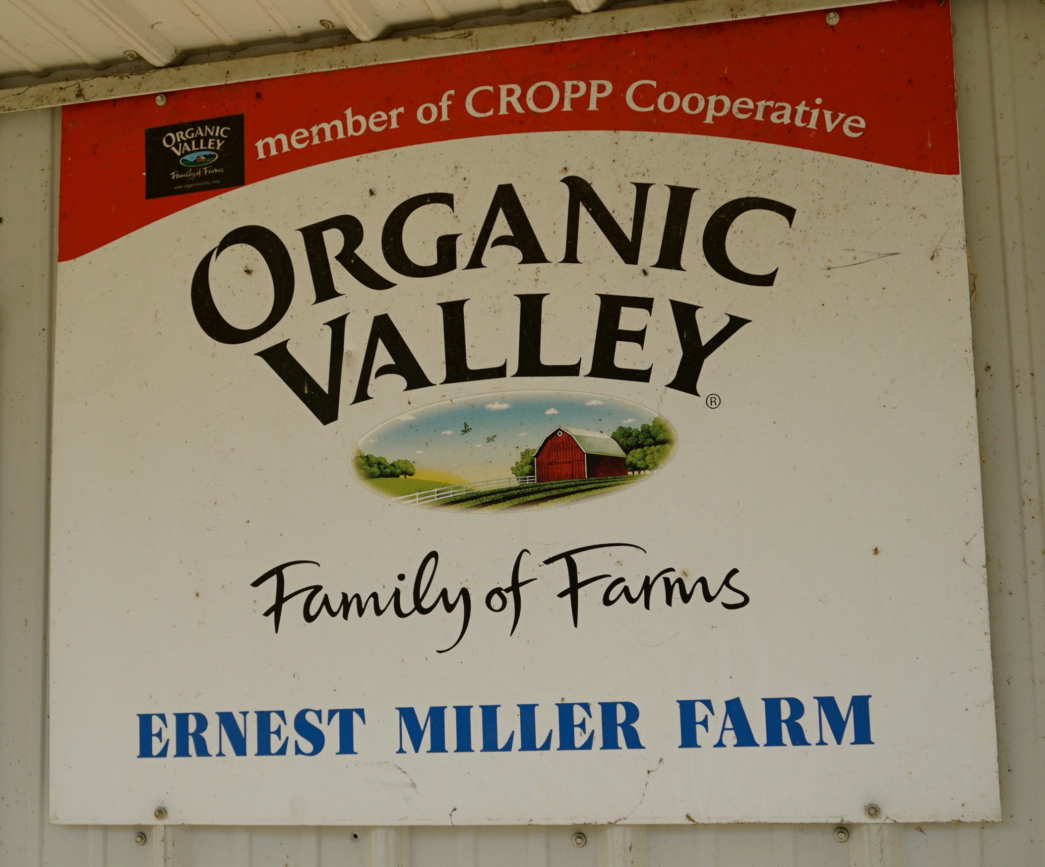 Ernest Miller Farm Organic Valley sign