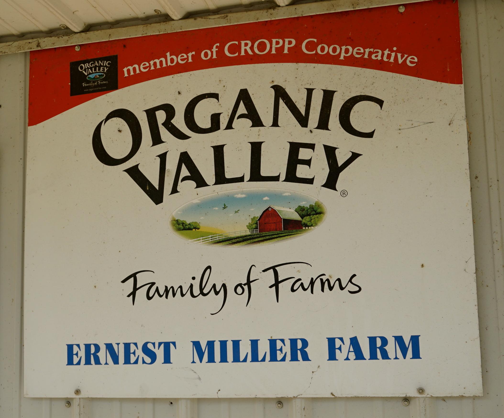 Ernest Miller Farm Organic Valley sign